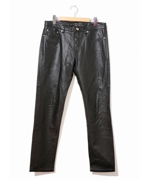 PAUL SMITH(ポールスミス)Paul Smith (ポールスミス) カウレザーパンツ ブラック サイズ:L 牛革の古着・服飾アイテム