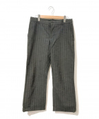 ANN DEMEULEMEESTER(アンドゥムルメステール)の古着「[OLD]織り柄ストライプパンツ」|グレー
