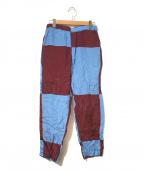 COMME des GARCONS HommePlus()の古着「[OLD]ブロックカラーレーヨンイージーパンツ」|ブルー