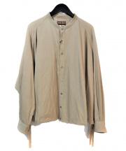 MAINU(マイヌ)の古着「バンドカラーワイドシャツ」|ベージュ