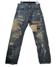 LEVIS VINTAGE CLOTHING(リーバイス ヴィンテージ クロージング)の古着「ハードウォーン&リペアード加工デニムパンツ」|インディゴ