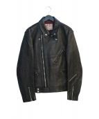 Addict Clothes(アディクト クローズ)の古着「ラムレザーライダースジャケット」|ブラック