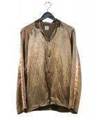 SASQUATCHfabrix.(サスクワッチファブリックス)の古着「ノッチドカラーサテンシャツ」|ゴールド