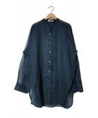 Plage(プラージュ)の古着「オーガンジーチュニックシャツ」|ネイビー