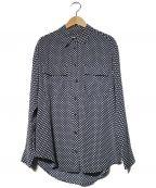 EQUIPMENT(エキップモン)の古着「ドットシルクシャツ」 ネイビー