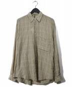 AURALEE(オーラリー)の古着「スーパーライトチェックビッグシャツ」 ベージュ