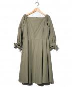 Anatelier(アナトリエ)の古着「袖リボンフレアワンピース」|オリーブ