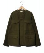 HYKE(ハイク)の古着「ノーカラーメルトンジップジャケット」|グリーン