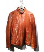 JACKROSE(ジャックローズ)の古着「ホースハイドシングルライダースジャケット」|ブラウン