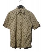 BURBERRY BLACK LABEL(バーバリーブラックレーベル)の古着「ホースロゴ総柄シャツ」|ベージュ