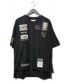 Maison MIHARA YASUHIRO(メゾンミハラヤスヒロ)の古着「embroidery wappen Tワッペン刺繍Tシャツ」|ブラック