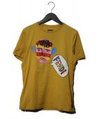 FENDI(フェンディ)の古着「People motif logoプリントTシャツ」|イエロー
