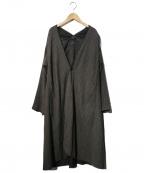 pas de calais(パドカレ)の古着「ストライプガウンコート」|グレー