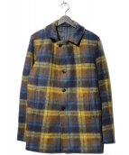 agnes b homme(アニエスベーオム)の古着「ウールチェックチェスターコート」|ネイビー