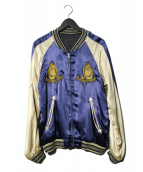 RUDE GALLERY(ルードギャラリ)の古着「マリア刺繍リバーシブルスカジャン」|パープル×ブラック
