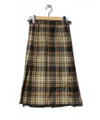 ONEIL OF DUBLIN(オニール オブ ダブリン)の古着「チェックラップスカート」|ブラウン