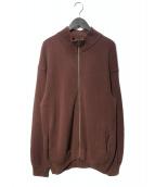 crepuscule(クレプスキュール)の古着「Moss Stitch Zip Cardigan カーディガ」|ブラウン