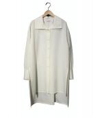 CABaN(キャバン)の古着「ウールツイルハイネックロングシャツ」|ホワイト