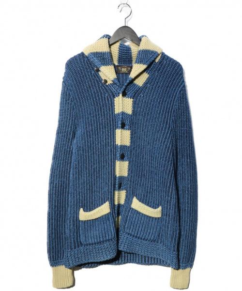 RRL(ダブルアールエル)RRL (ダブルアールエル) インディゴ ショールカーディガン ブルー サイズ:S chunky knit cardiganの古着・服飾アイテム