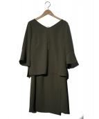 JUSGLITTY(ジャスグリッティ)の古着「ブラウススカートイセットアップ」|カーキ