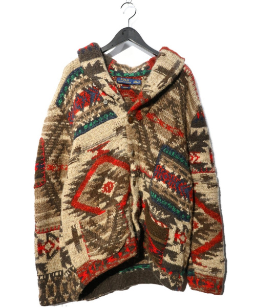 POLO RALPH LAUREN(ポロラルフローレン)POLO RALPH LAUREN (ポロラルフローレン) HAND KINTネイティブショールカラーカーディガン ブラウン サイズ:XXL  710560512001 参考価格150.000+TAXの古着・服飾アイテム