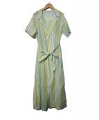 MACPHEE(マカフィ)の古着「コットンシルクワッシャーレイオーバードレス」|イエロー×ブルー