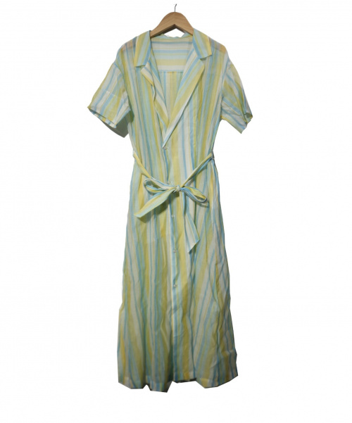 MACPHEE(マカフィー)MACPHEE (マカフィ) コットンシルクワッシャーレイオーバードレス イエロー×ブルー サイズ:36   トゥモローランドの古着・服飾アイテム