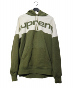 Supreme(シュプリーム)の古着「blocked hooded sweatshirt パーカー」|ホワイト×カーキ
