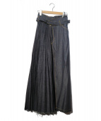 YASUTOSHI EZUMI(ヤストシ エズミ)の古着「プリーツデニムラップスカート」|インディゴ