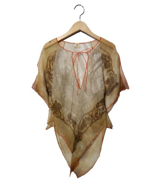 HERMES(エルメス)HERMES (エルメス) シルクブラウス ブラウン×オレンジ サイズ:34の古着・服飾アイテム