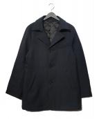 COMME CA MEN(コムサメン)の古着「ポリエステルヘリンボーン中綿コート」|ネイビー