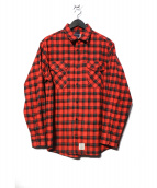 APPLEBUM(アップルバム)の古着「Print Check Nel Shirt シャツ」|レッド×ブラック