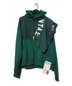 Maison MIHARA YASUHIRO(メゾンミハラヤスヒロ)の古着「T-sh docking hoodie パーカー」|グリーン