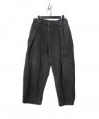 COLINA(コリーナ)の古着「Sashiko W-tuck 刺し子ダブルタックパンツ」|ブラック
