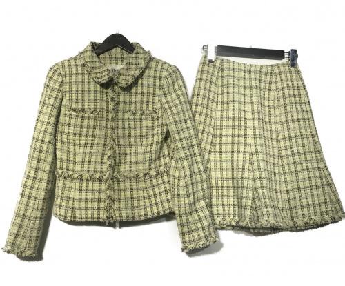 Rene(ルネ)Rene (ルネ) ツイードセットアップスーツ ミントグリーン サイズ:36 グリーンの古着・服飾アイテム