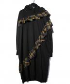 FRAPBOIS(フラボア)の古着「フリチェックフード付ワンピース」 ブラック