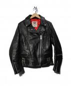 666(シックスシックスシックス)の古着「LJW-1 サイドベルトライダースジャケット」|ブラック