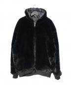 DANKE SCHON(ダンケ シェーン)の古着「チェッカーファーブルゾン ジャケット」|ブラック