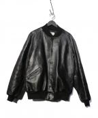MASSES(マシス)の古着「LEATHER RIB JKT レザースタジャン ジャケット」|ブラック
