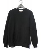 Vincent et Mireille(ヴァンソンエミレイユ)の古着「8ゲージタックモスクルーネックセーター ニット」|ブラック