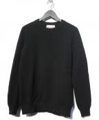 VINCENT ET MIREILLE(ヴァンソンエミレイユ)の古着「8ゲージタックモスクルーネックセーター ニット」 ブラック