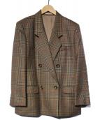 Burberrys(バーバリーズ)の古着「格子柄ダブルジャケット」|ブラウン