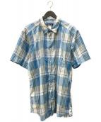 ()の古着「半袖チェックシャツ」 ブルー