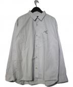 MASSES(マシス)の古着「ロゴ刺繍レギュラーカラーシャツ」|グレー