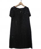 CHANEL()の古着「スパンコール装飾Aラインワンピース」|ブラック