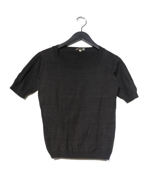 CHANEL(シャネル)CHANEL (シャネル) [OLD]ヴィンテージココマークスクエアネックニット ブラック サイズ:M 半袖ニット CHANEL CREATIONS 1980年代初期の古着・服飾アイテム