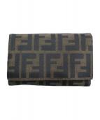 FENDI(フェンディ)の古着「ズッカ柄二つ折り財布」|ブラウン