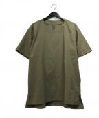 KAZUYUKI KUMAGAI ATTACHMENT(カズユキクマガイアタッチメント)の古着「ストレッチタイプライタープルオーバーシャツS/S」|カーキ