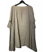 nest Robe(ネストローブ)の古着「リネンギャザーワンピース」|ベージュ