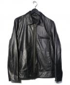 LIUGOO LEATHERS(リューグーレザーズ)の古着「ラムレザーシングルライダースジャケット」 ブラック